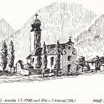 Alte Pradler Kirche 1730