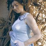 Schwangerschafts-2-Teiler aus Schurwolle mit angesetztem Spitzenkragen aus Venedig