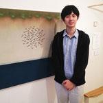 淡水の熱帯魚を中心に描いている阿部和樹さん(日本画)