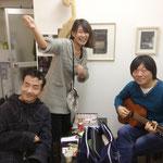 左から上野さん、如月さん、布施さん。新ユニット結成か? アート界のドリカムになれる??