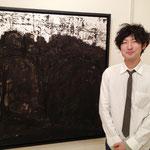 人と人の関わり、距離感などに対する想いを表現していた松岡 学さん(日本画)