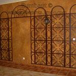 Имитация металлической сетки на стене