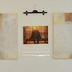 Abstraktion trifft Fotografie, gelb, weiss, Pigmente, Öl auf Leinwand, Lichtechter Print auf Folie, 75/200