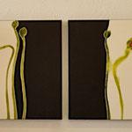 Mohnknospenauf schwarz, 2x 60/60, Acryl auf Leinwand