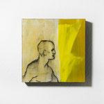 human movement, Quadrat, 40/40, Pigment auf Holz, geharzt