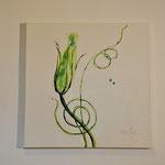 Trichterwinde, grün, 60/60 Acryl auf Leinwand