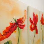 Tulpen, 3x 50/100, Acryl auf Leinwand