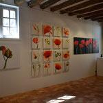 Klatschmohnmosaik, 16 x 40/40, Acryl auf Leinwand