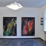 Schöpfung I und II, großformatig, rot, schwarz, grün, Acryl auf Leinwand, 125/175