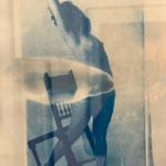 Fotografisches Edeldruckverfahren, blau, Papierarbeit