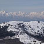 湯の丸山・奥に北アルプス(鹿島槍岳・五竜岳・唐松岳)