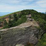 正面が頂上・登山道は岩の右下
