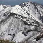 熊穴沢避難小屋(赤い屋根)・天神平スキー場(左奥)