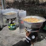 下山後の鍋焼きうどん  久しぶりにガソリンストーブ(ピークワン)を使用