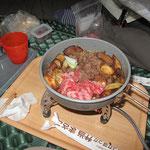 夕食・すき焼き(牛肉・ねぎ・ハナイグチ・ヤマイグチ・麩)