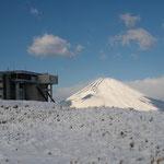 ロープウエー駅と富士山