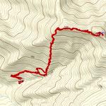 途中ログが別れているのは登山道をわざと外れて勝手に歩いたためです。