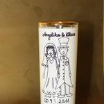 Ein bedrucktes Schnapsglas