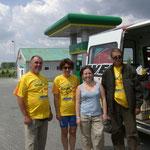 Meine unsere Freunde kurz hinter der Grenze Polen Ukraine
