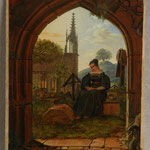Гримм Людвиг Эмиль (Ludwig Emil Grimm) – Девушка утром на кладбище (Mourning Girl at the Cemetery) середина XIX века