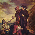 Делакруа Эжен (Ferdinand Victor Eugène Delacroix) - Гамлет и Горацио на кладбище (Hamlet et Horatio au cimetière par Eugène) 1839