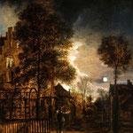 Неер, Арт ван дер (Aert van der Neer) – Двое беседующих в парке под луной (Two Figures conversing in a Moonlit Park), 1650