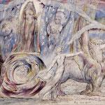 Блэйк Уильям (William Blake) Данте встречает Беатриче в раю (Béatrice & Dante) 1824