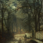 Гримшоу Джон Аткинсон (John Atkinson Grimshaw) – Аллея в лунном свете (A moonlit lane) 1874