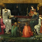 edward coley burne-jones - The Last Sleep of Arthur in Avalon, detal 1898