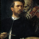 Боклин Арнольд (Arnold Boklin) - Автопротрет со смертью, играющей на скрипке (selfportrait with death as a fiddler) 1872
