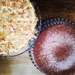 mandel amaretto torte und schoko himbeer torte