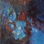 Fleur bleue- Huile sur toiel, 36x27 cm