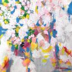 Sakura- Technique mixte sur toile,  130 x 97 cm-2017