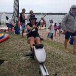 Amanda on the paddling machine