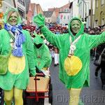 Als Vortrupp der Plößberger Garde schickten die Narren aus dem Stiftland fröhliche Frösche in die Kreisstadt.