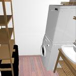 Сейчас стоим спиной к гладильной доска, справа раковина и полки. Дальше стиральная машинка с сушилкой.