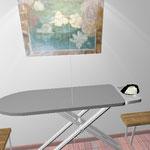 Гладильная доска, перед лицом, картина, слава и справа скамейки, куда можно складывать белье
