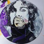 Prince auf der Orginal Purple Rain-LP, Acryl und Edding auf Vinyl, 2018