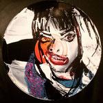 Nina Hagen, auf Nina Hagen LP,  Acryl und Edding auf Vinyl, 2018