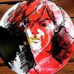 Dee Dee Ramone, auf Ramones-LP, Acryl und Edding auf Vinyl, 2018
