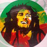 Bob Marley, auf einem Reggea-Sampler,Acryl und Edding auf Vinyl, 2019, sold