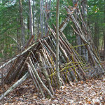 A lean-to playhouse, built by the Antioch 'Placed Based Education' class.