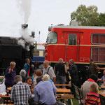Im Hintergrund die Gastlokomotive der ÖBB Erlebnisbahn, die Diesellok 2050.09.