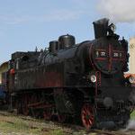Fertig zusammengestellter Zug im Heizhausbereich am Lokalbahnhof Mistelbach
