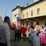 Zum Schluss leitete die Braut den Verschub am Bahnhof Hohenau. Alles gute für Eure Zukungt Marianne & Gerhard!