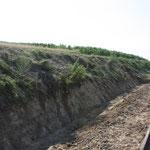 Hier der erste Teil des wiederhergestellten Bahngrabens.