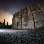 Semaine 9 : Photo de nuit prise à l'abbaye de St Felix de Montceau au fisheye par pleine lune