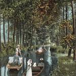 1913-Burg-Boote-auf-einem-Kanal-im-Spreewald