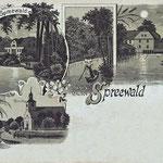 1902-Mondschein-Lithographie-Burg-Gasthof-zum-Spreewald-Kirche-und-Mutnitza-b-Forsthaus-Eiche