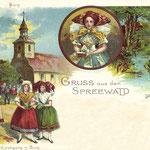 1898-Lithographie-Burg-Frauen-in-Trachten-b-Kirchgang-die-Bank-im-Spreewald